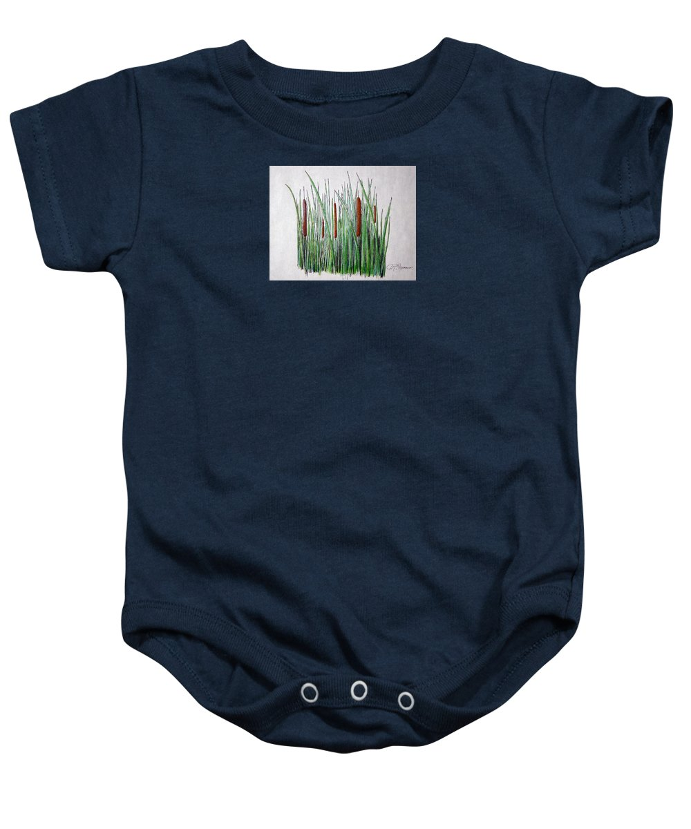 Cattails Baby Onesie featuring the drawing Cattails 3 by J R Seymour
