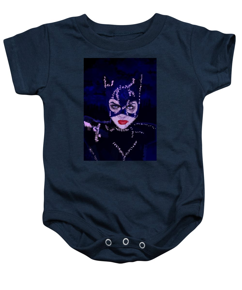 Catwoman Baby Onesie featuring the painting Catwoman Michelle Pfeiffer Burton by Adam Ween