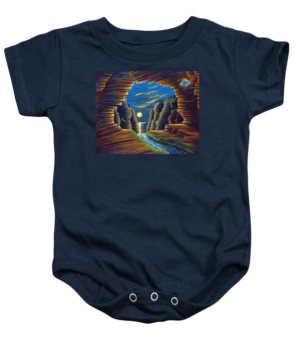 Cave Baby Onesie featuring the painting Cave With Cliffs by Jennifer McDuffie
