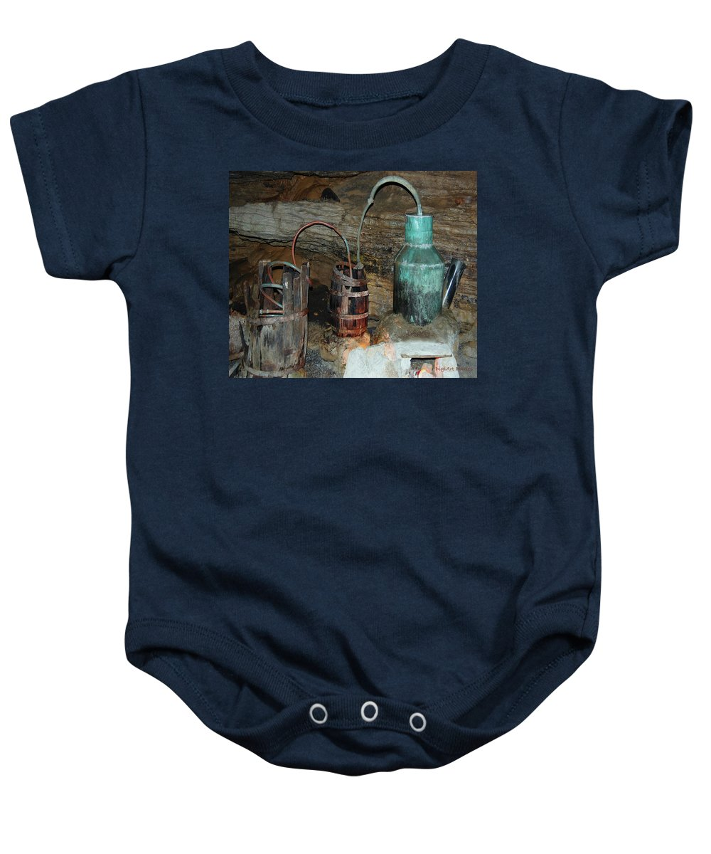 Caverns Baby Onesie featuring the photograph Caverness Moonshining by DigiArt Diaries by Vicky B Fuller