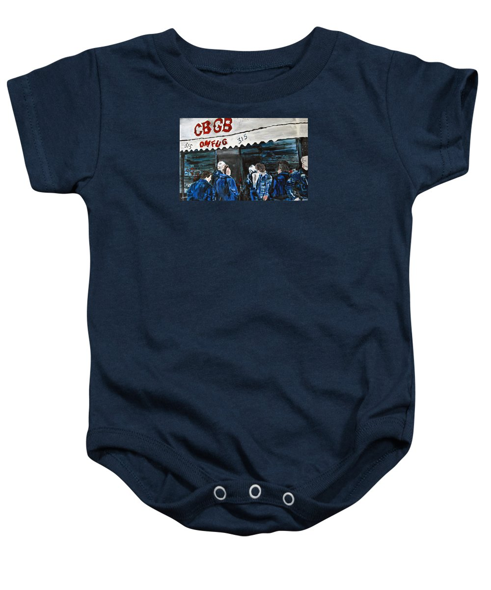 New York City Paintings Baby Onesie featuring the painting Cbgb's by Wayne Pearce