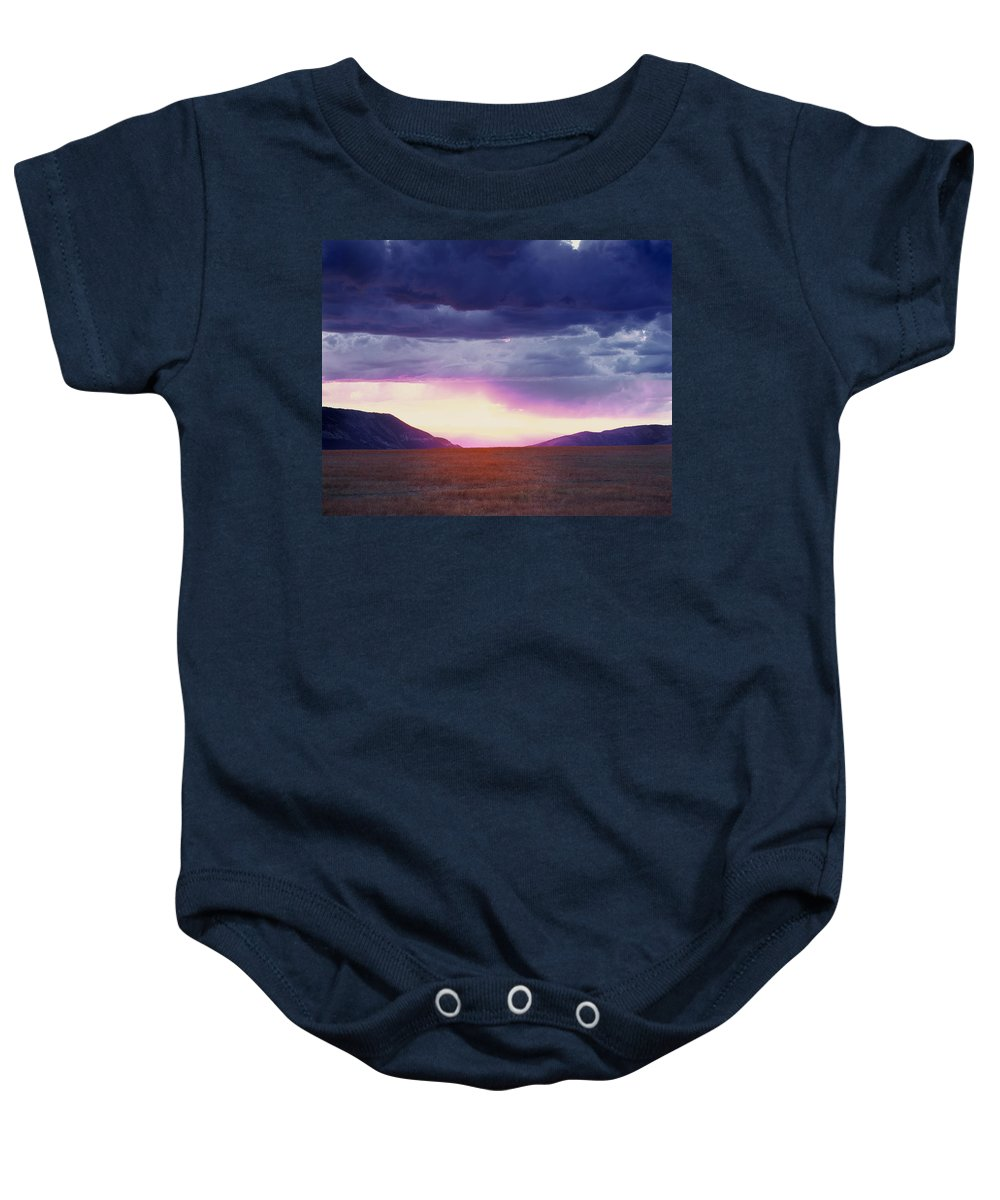 Continental Divide Sunset Baby Onesie featuring the photograph Cdt Sunset by Leland D Howard