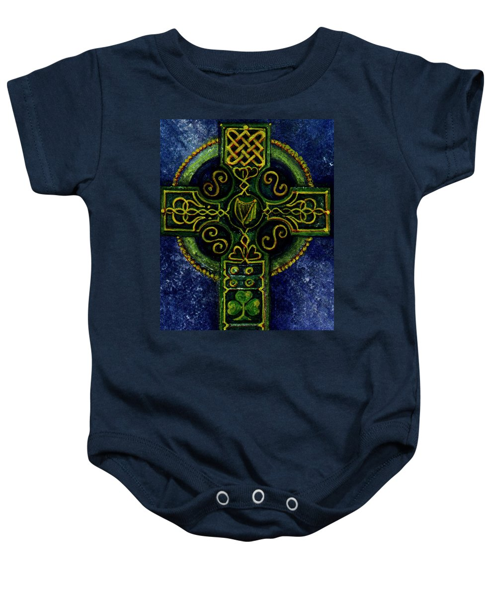 Elle Fagan Baby Onesie featuring the painting Celtic Cross - Harp by Elle Smith Fagan