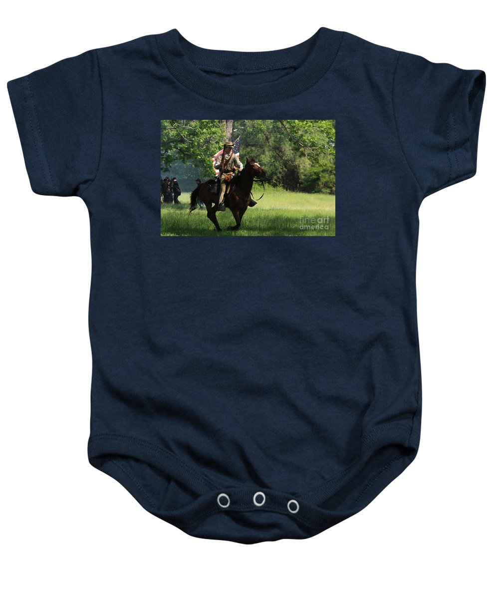Civil War Re-enactment Baby Onesie featuring the photograph Charging Through by Kim Henderson