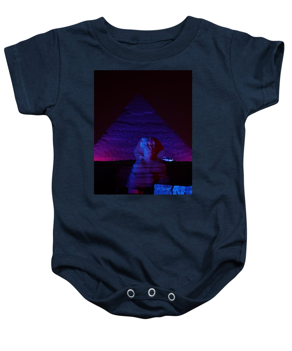 Pyramid Baby Onesie featuring the photograph Cheops In Blue by Donna Corless