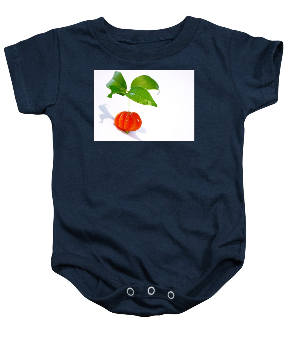 Food Baby Onesie featuring the photograph Cherry by Holly Kempe