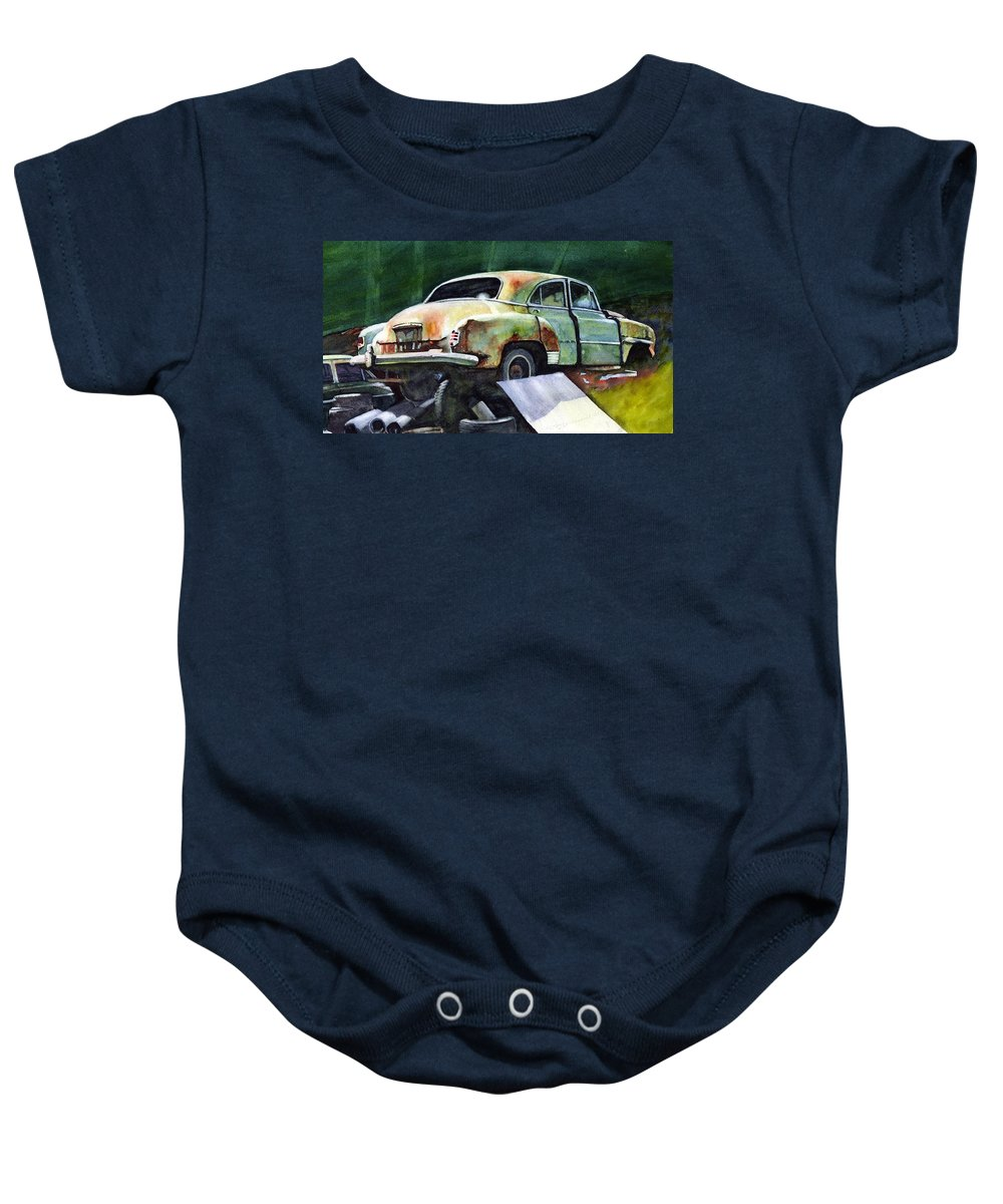 Chev Baby Onesie featuring the painting Chev At Rest by Ron Morrison
