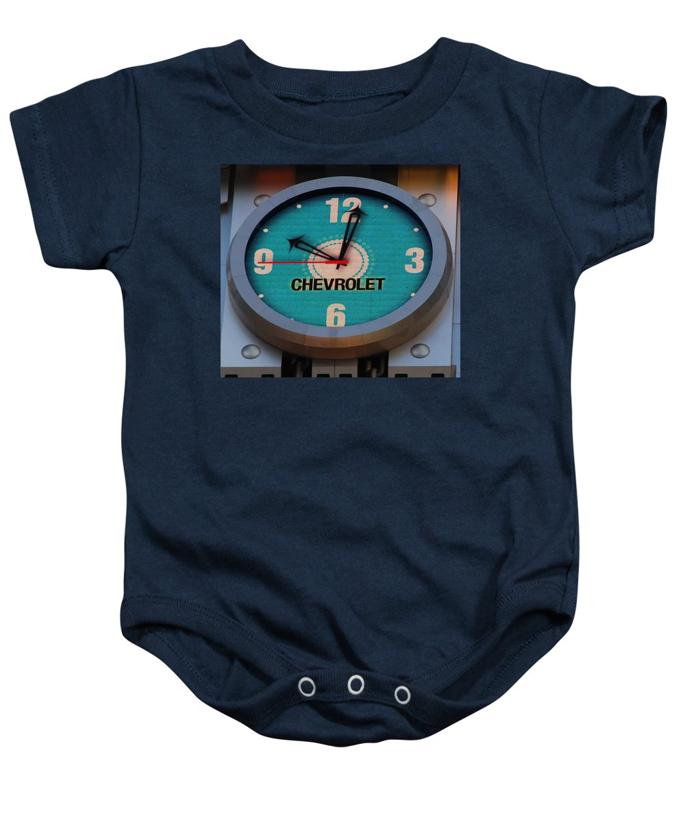 Clock Baby Onesie featuring the photograph Chevy Neon Clock by Rob Hans