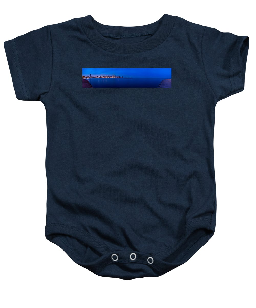 Architecture Baby Onesie featuring the photograph Chicago Lakefront Ultra Wide Hd by Steve Gadomski