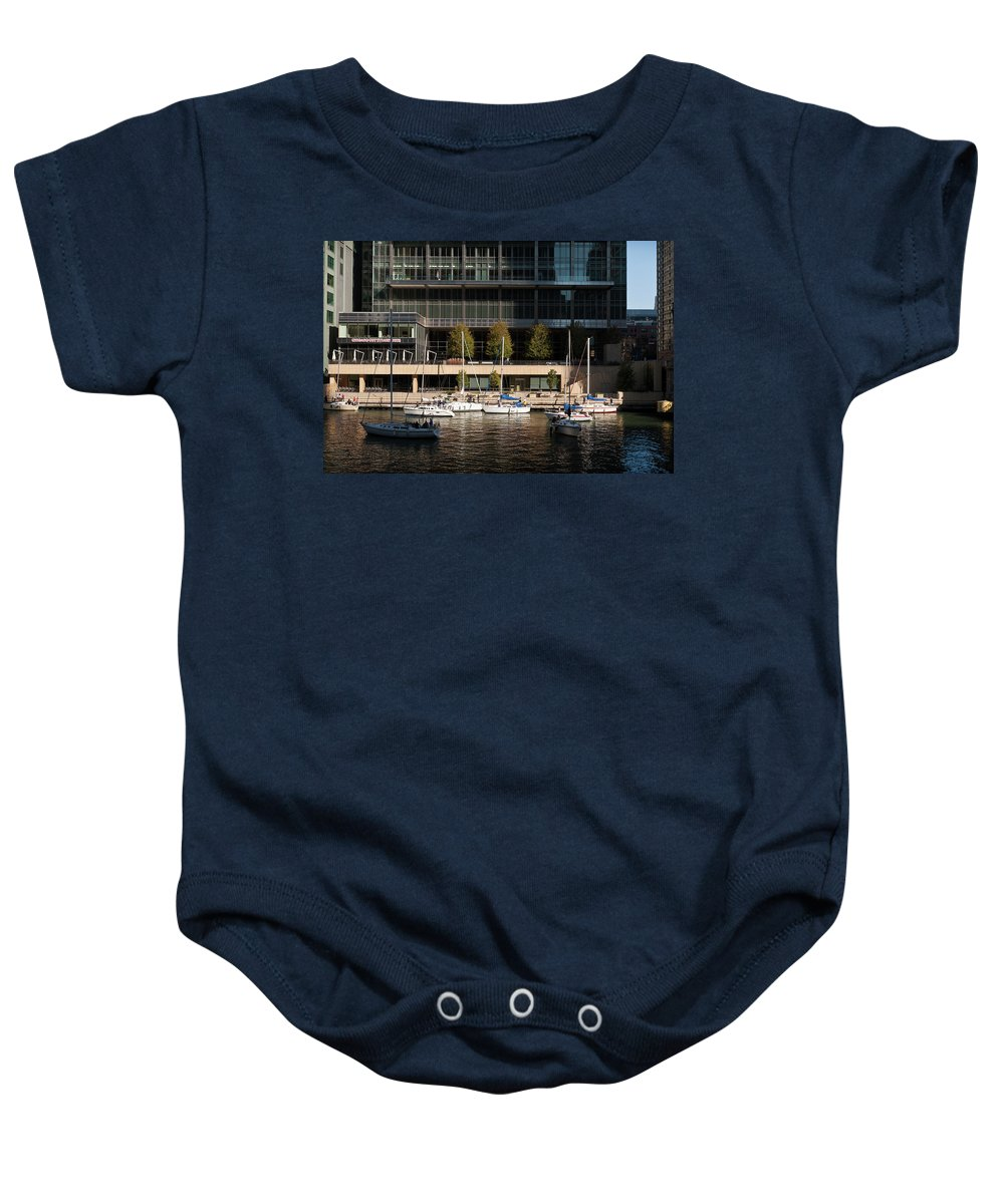 Chicago Baby Onesie featuring the photograph Chicago River Boats by Steve Gadomski