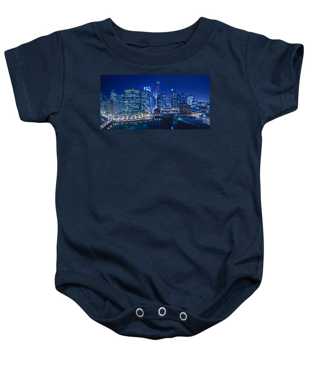 Chicago Baby Onesie featuring the photograph Chicago River Panorama by Steve Gadomski