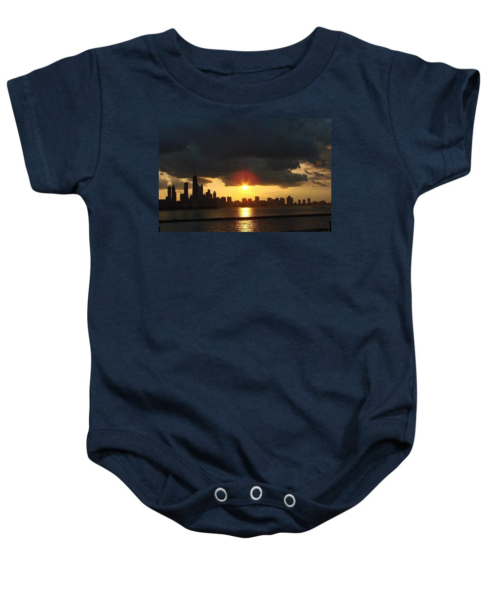 Chicago Baby Onesie featuring the photograph Chicago Silhouette by Glory Fraulein Wolfe