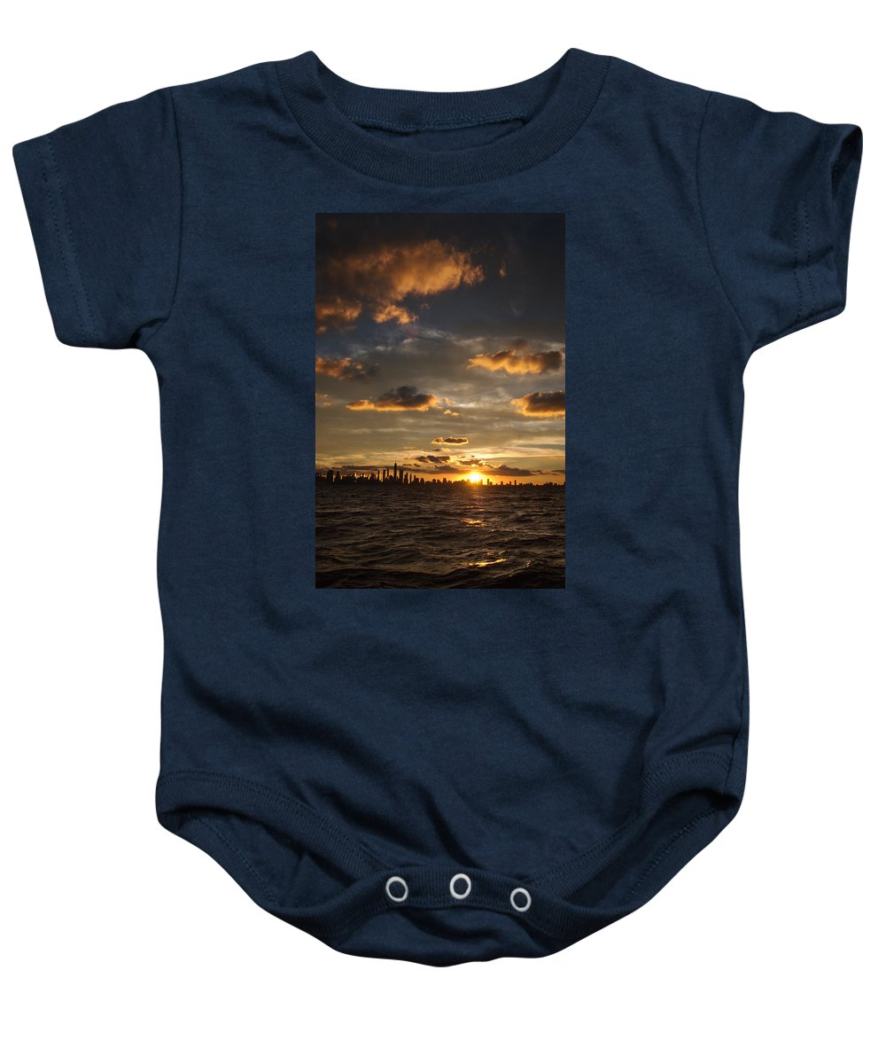 Boat Baby Onesie featuring the photograph Chicago Skyline Sunset by Steve Gadomski