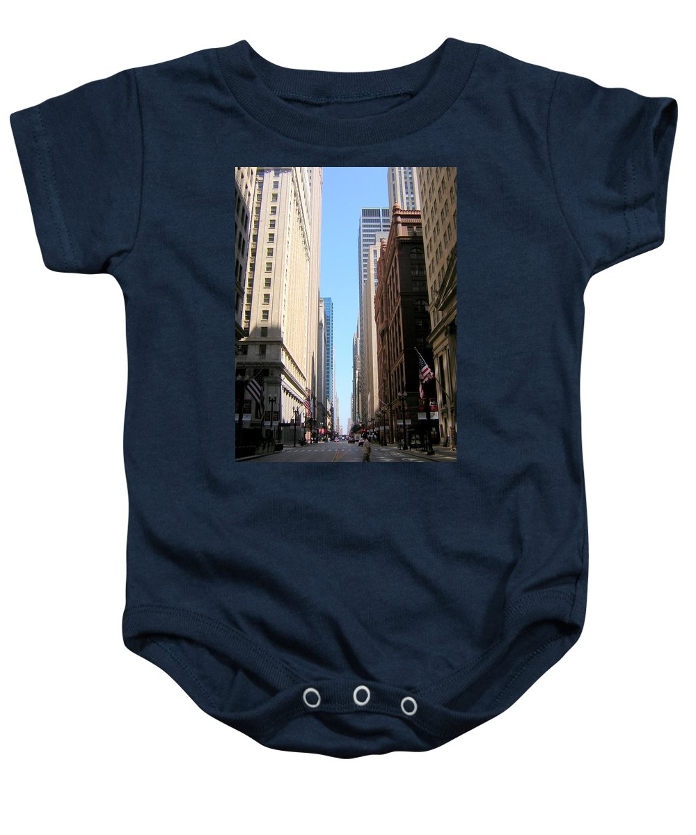 Chicago Baby Onesie featuring the photograph Chicago Street With Flags by Anita Burgermeister