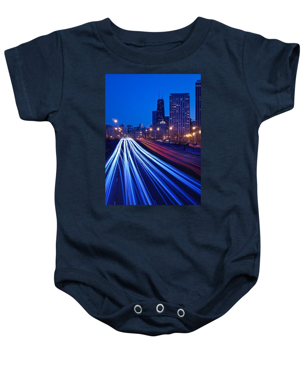 Blue Baby Onesie featuring the photograph Chicagos Lake Shore Drive by Steve Gadomski