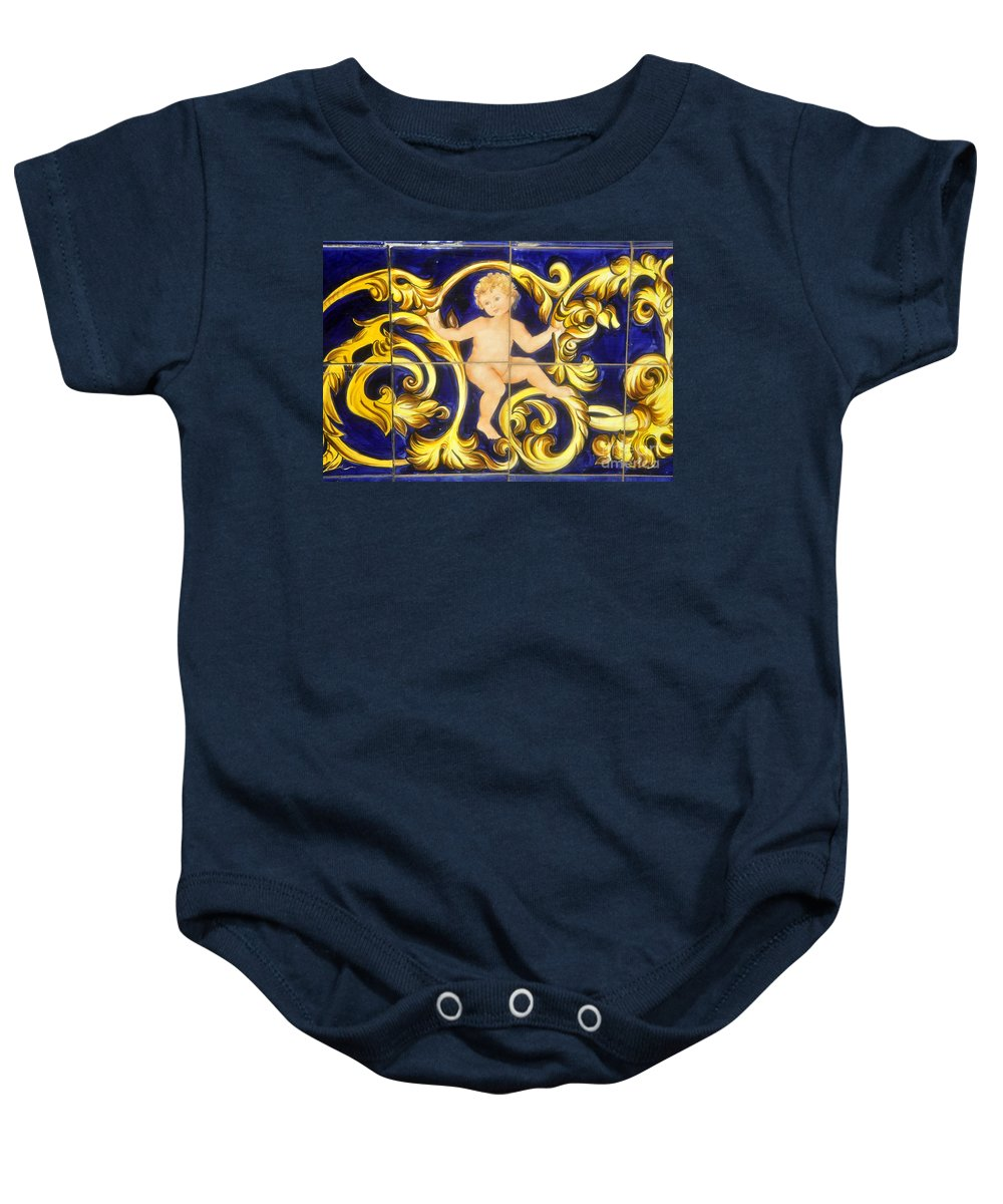Child Baby Onesie featuring the photograph Child In Blue And Gold by David Lee Thompson