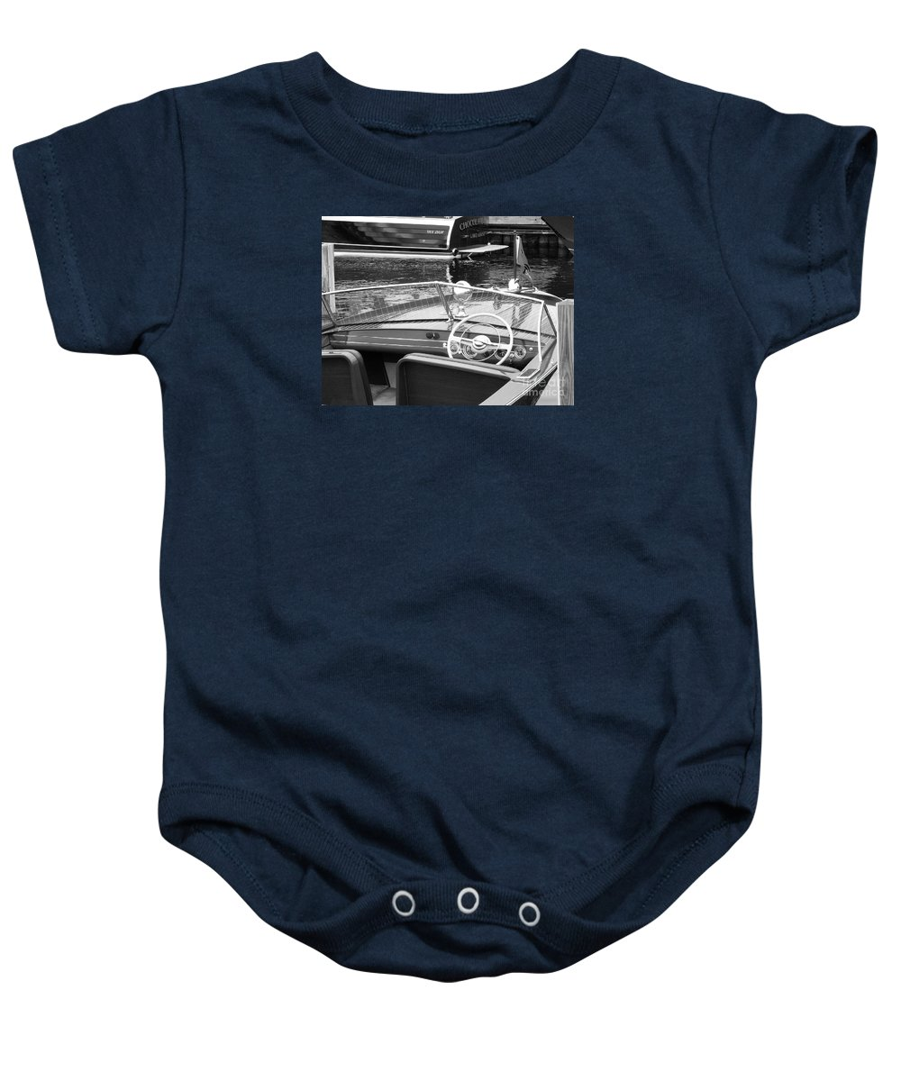 Chris Craft Baby Onesie featuring the photograph Chris Craft Utility by Neil Zimmerman