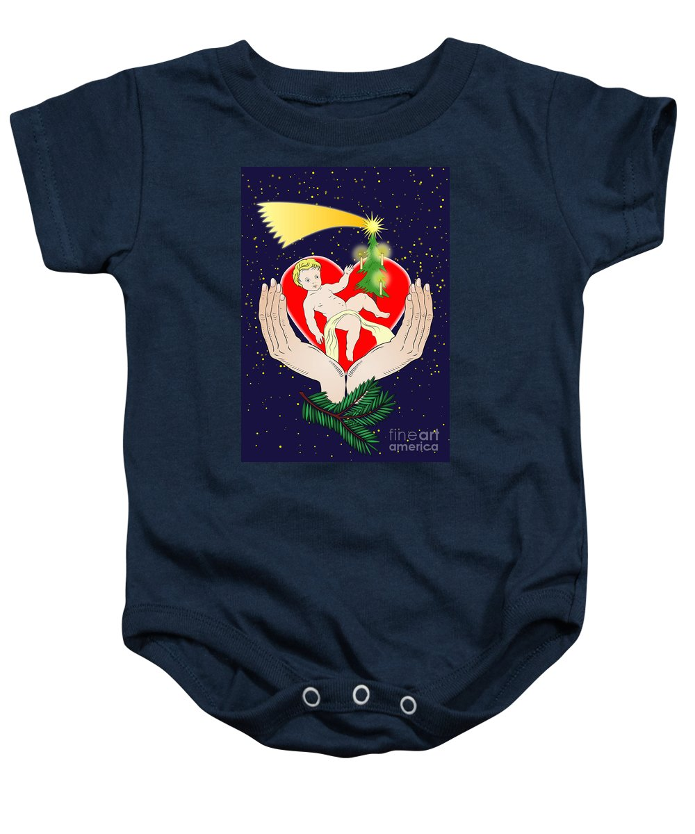 Christmas Baby Onesie featuring the digital art Christmas Eve- Nativity by Michal Boubin