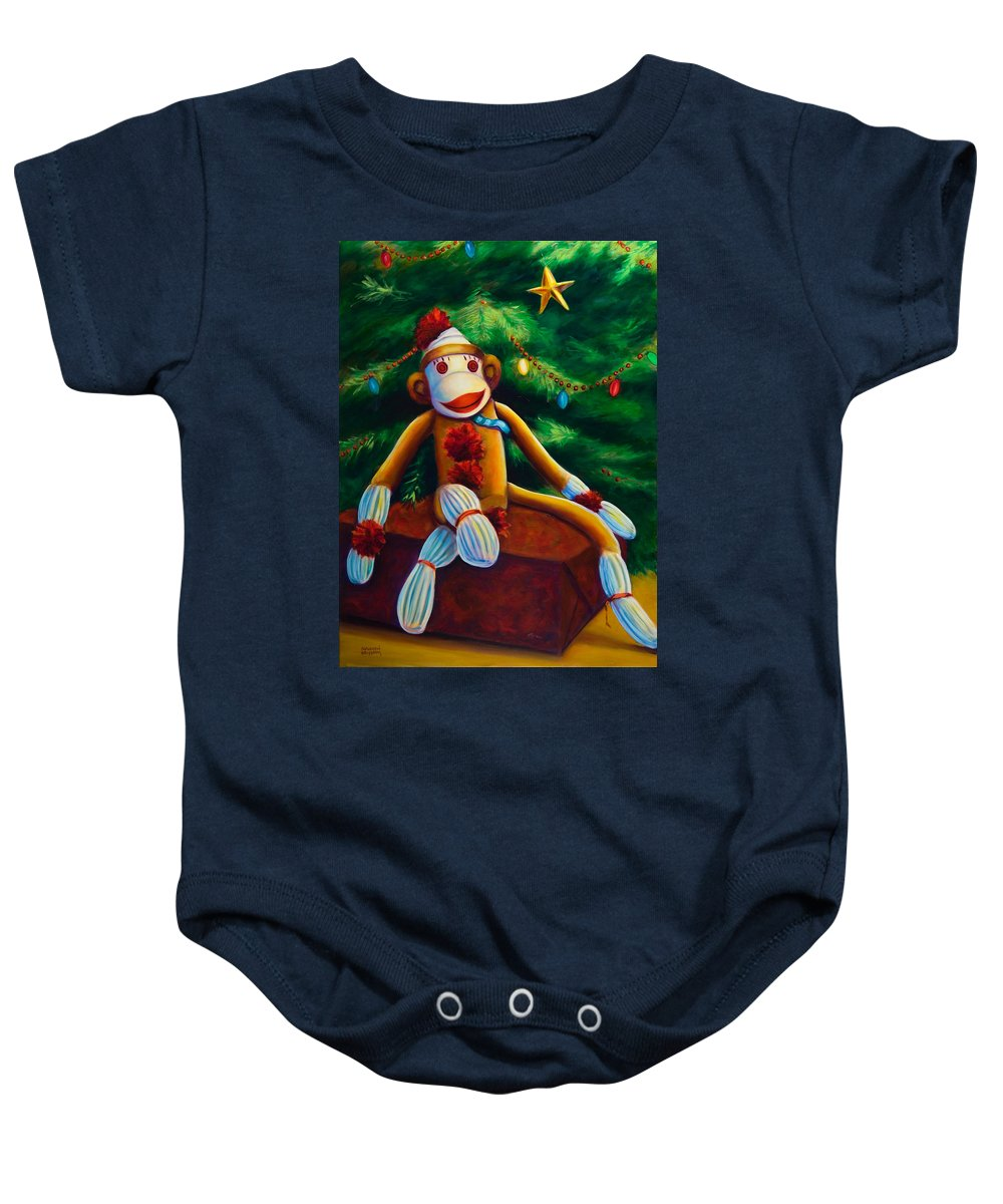 Sock Monkey Baby Onesie featuring the painting Christmas Made Of Sockies by Shannon Grissom