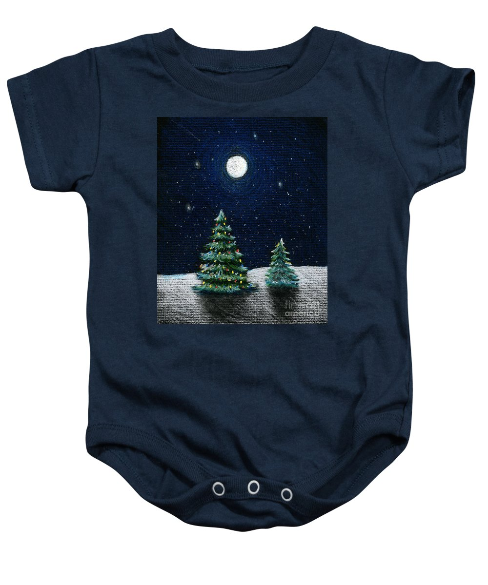 Christmas Trees Baby Onesie featuring the drawing Christmas Trees in the Moonlight by Nancy Mueller