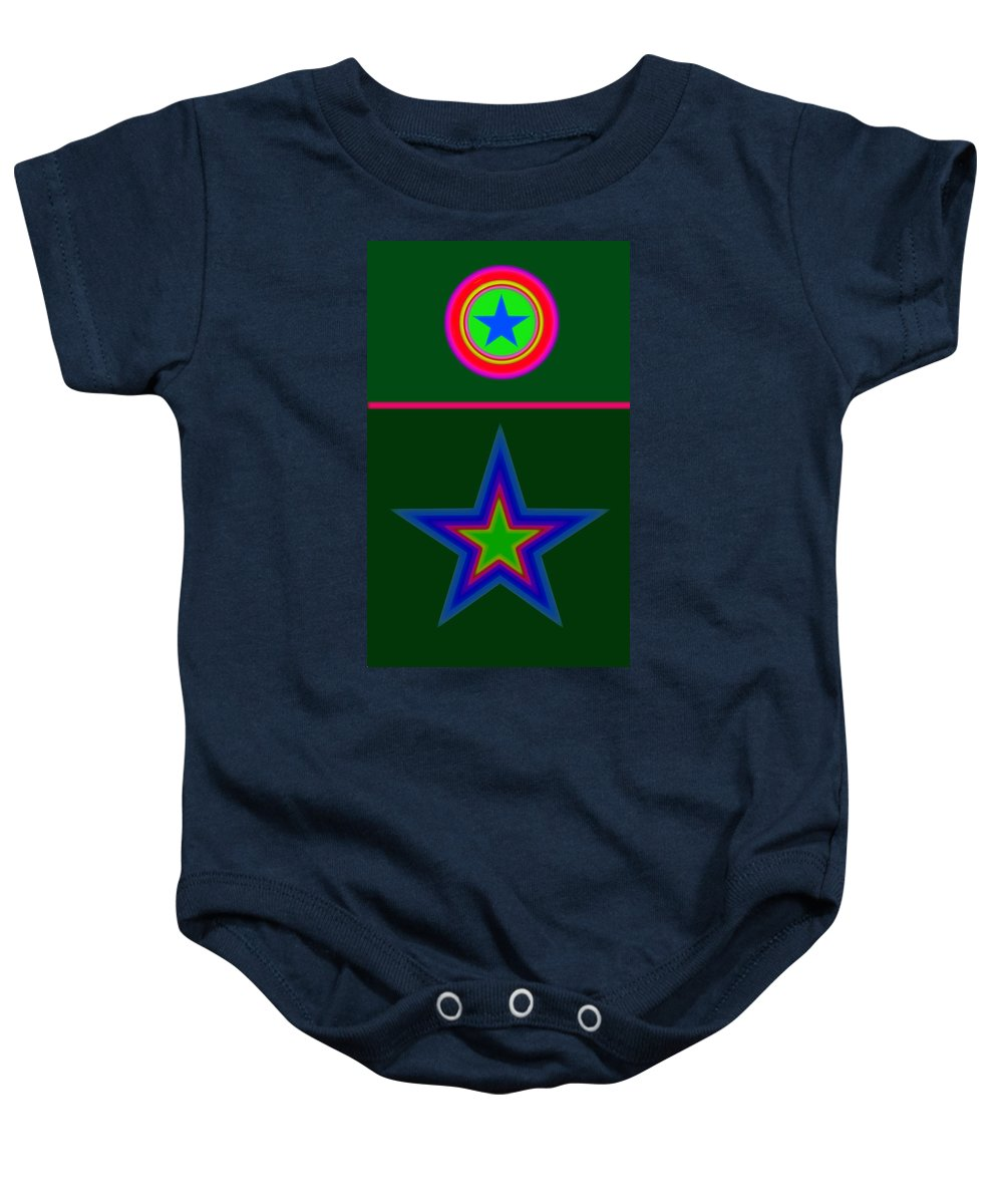 Circus Baby Onesie featuring the digital art Circus Green by Charles Stuart
