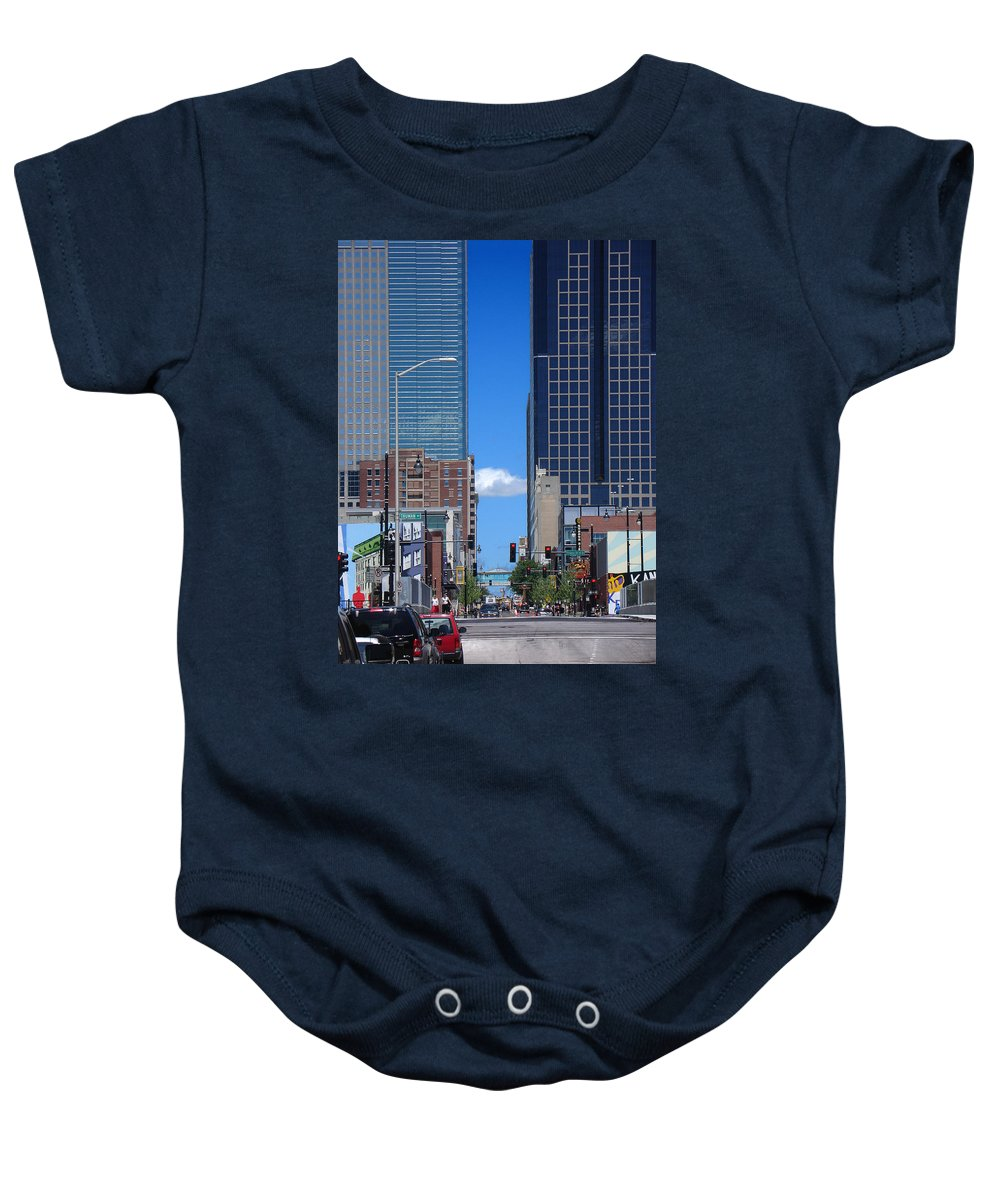 Kansas City Baby Onesie featuring the photograph City Street Canyon by Steve Karol