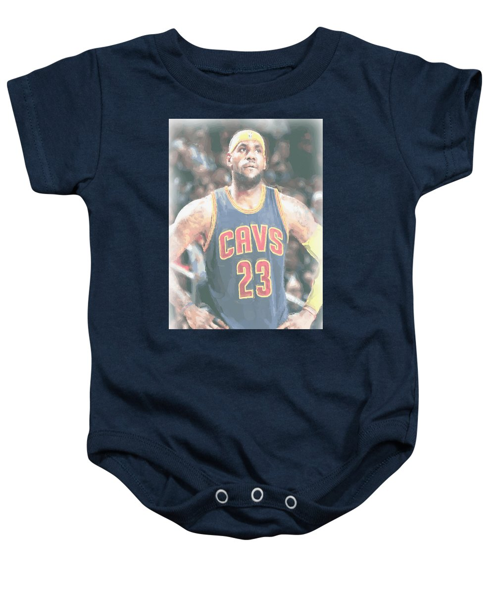 e7378e76d Lebron James Baby Onesie featuring the photograph Cleveland Cavaliers  Lebron James 5 by Joe Hamilton
