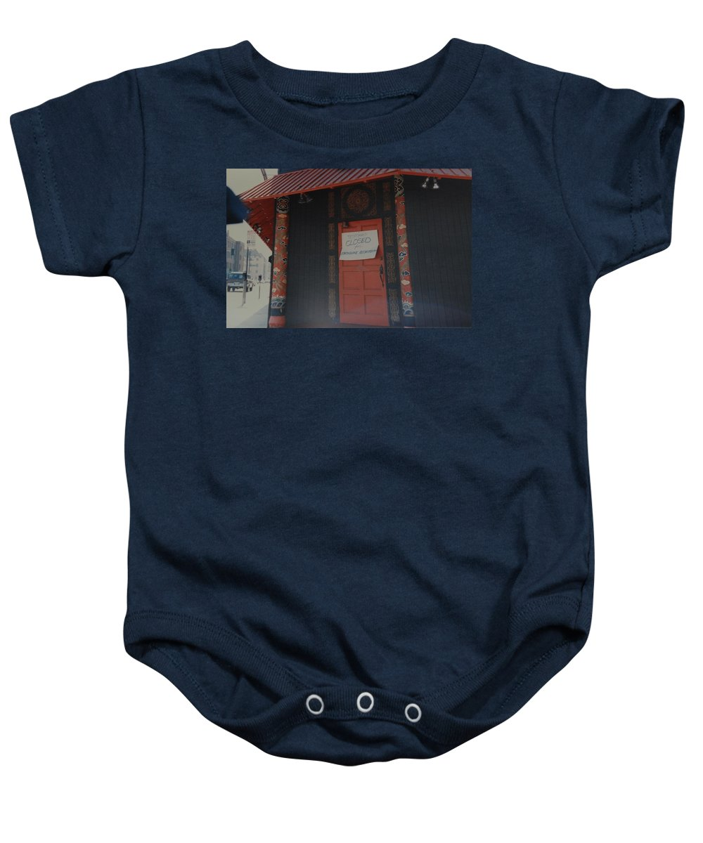 Art Baby Onesie featuring the photograph Closed For Earthquake by Rob Hans