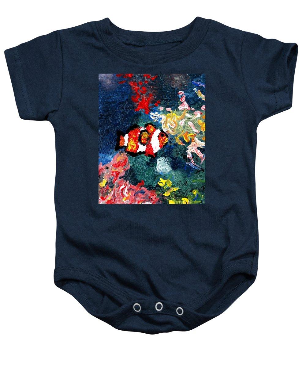 Fish Baby Onesie featuring the painting Clownfish by Luiza Vizoli