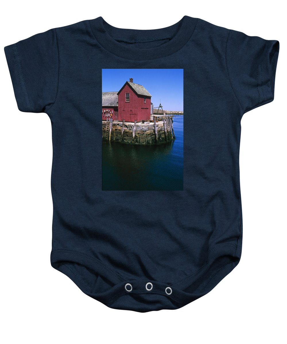 Landscape New England Rockport Motif Number 1 Baby Onesie featuring the photograph Cnrf0506 by Henry Butz