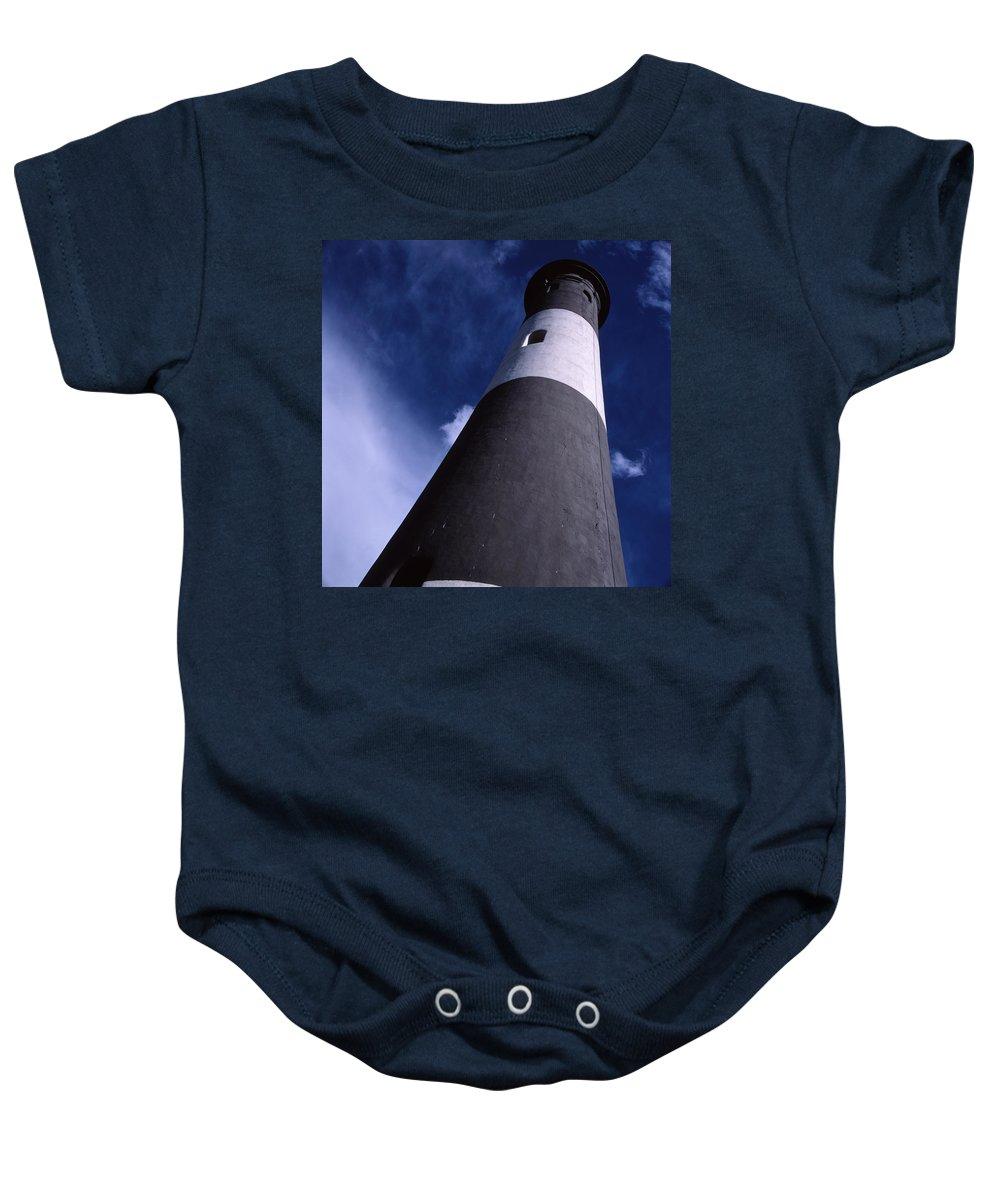 Landscape Lighthouse Fire Island Baby Onesie featuring the photograph Cnrf0701 by Henry Butz