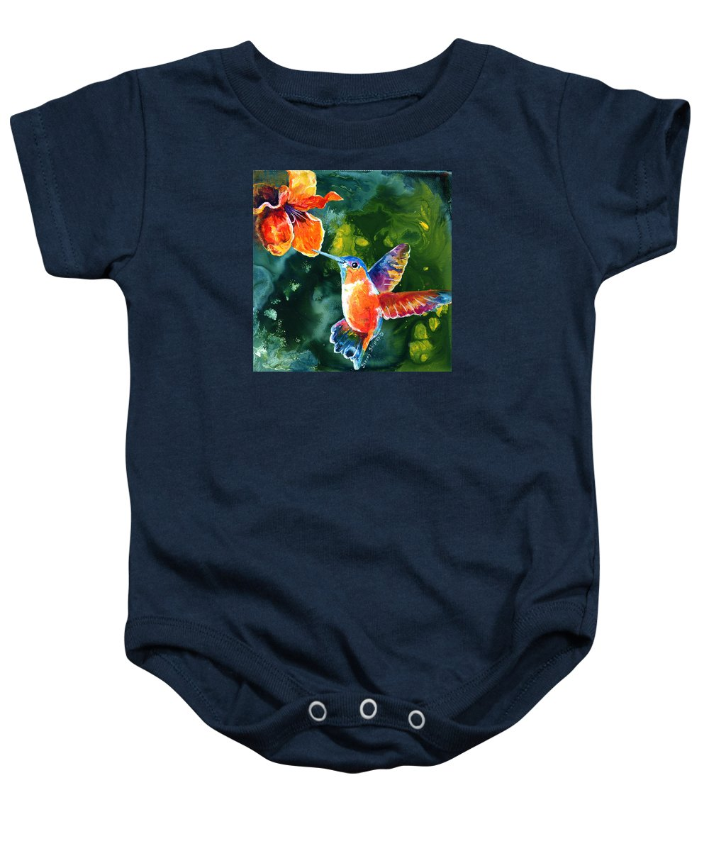 Hummingbird Baby Onesie featuring the painting Color Me Humming by Sherry Shipley