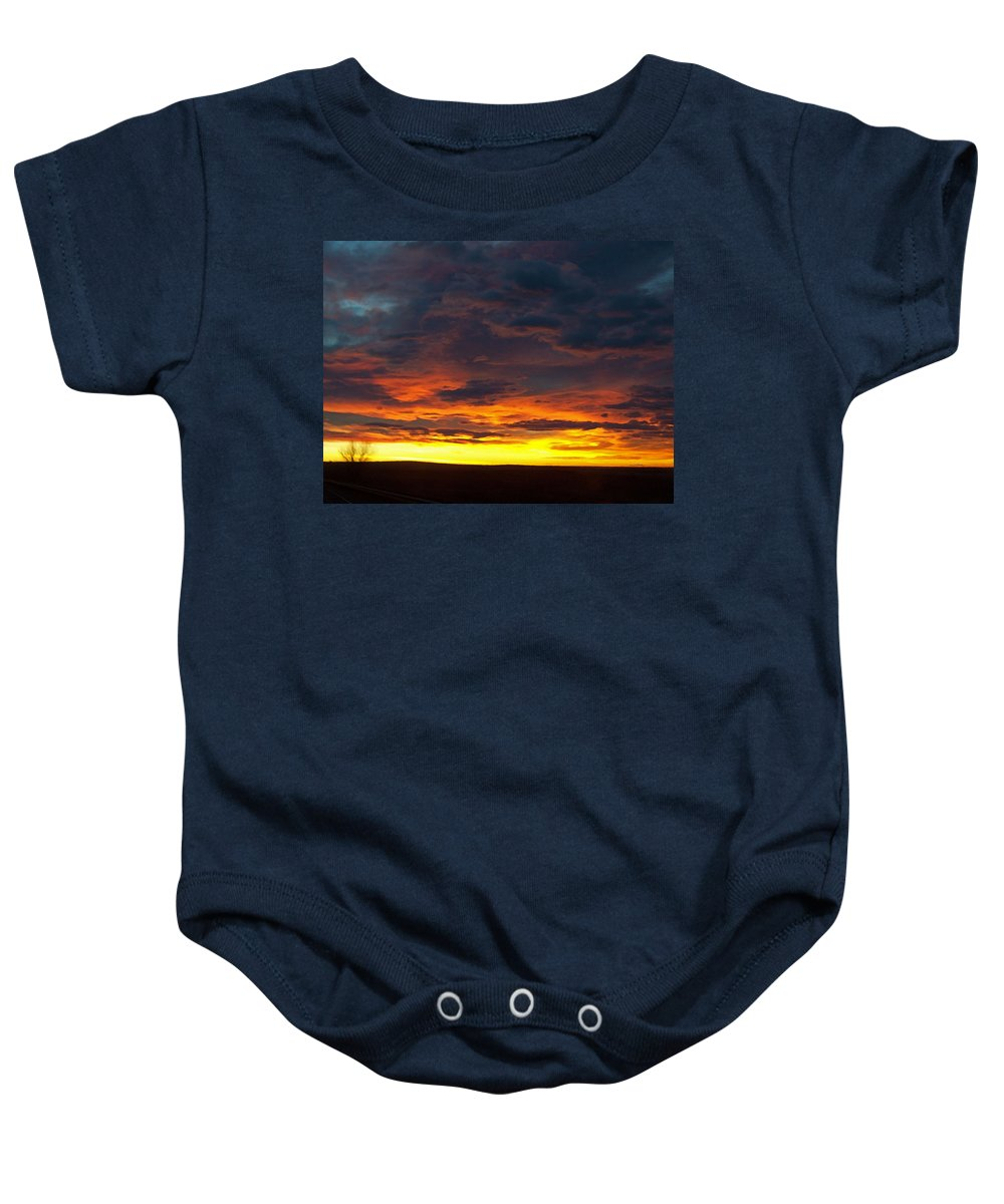 Colorado Baby Onesie featuring the photograph Colorado Sunrise February by Ernie Echols