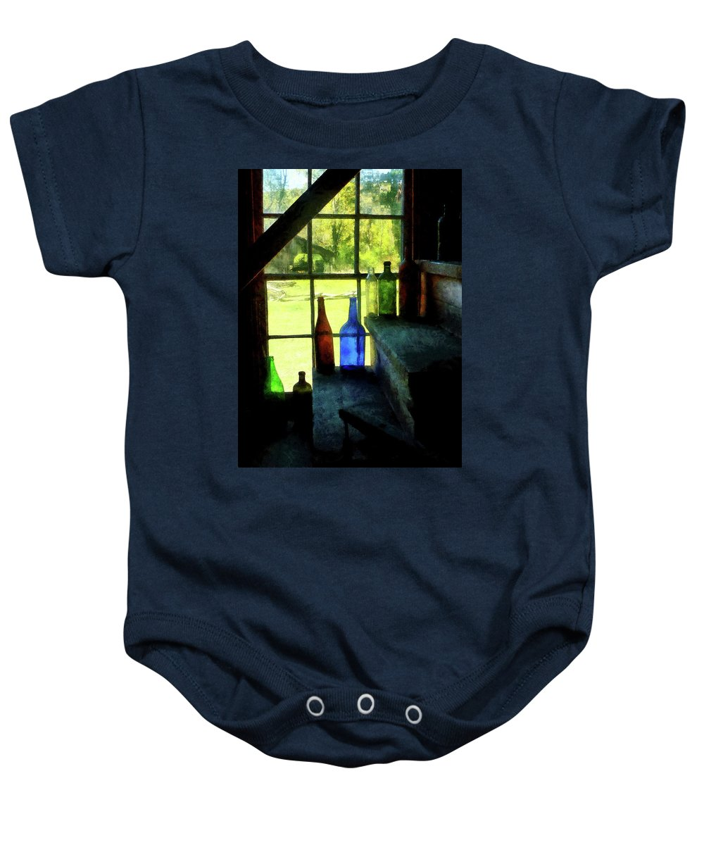 Bottles Baby Onesie featuring the photograph Colored Bottles On Steps by Susan Savad