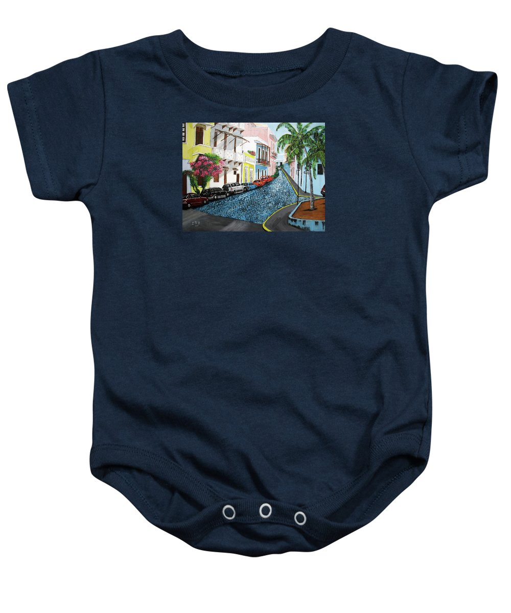 Old San Juan Baby Onesie featuring the painting Colorful Old San Juan by Luis F Rodriguez