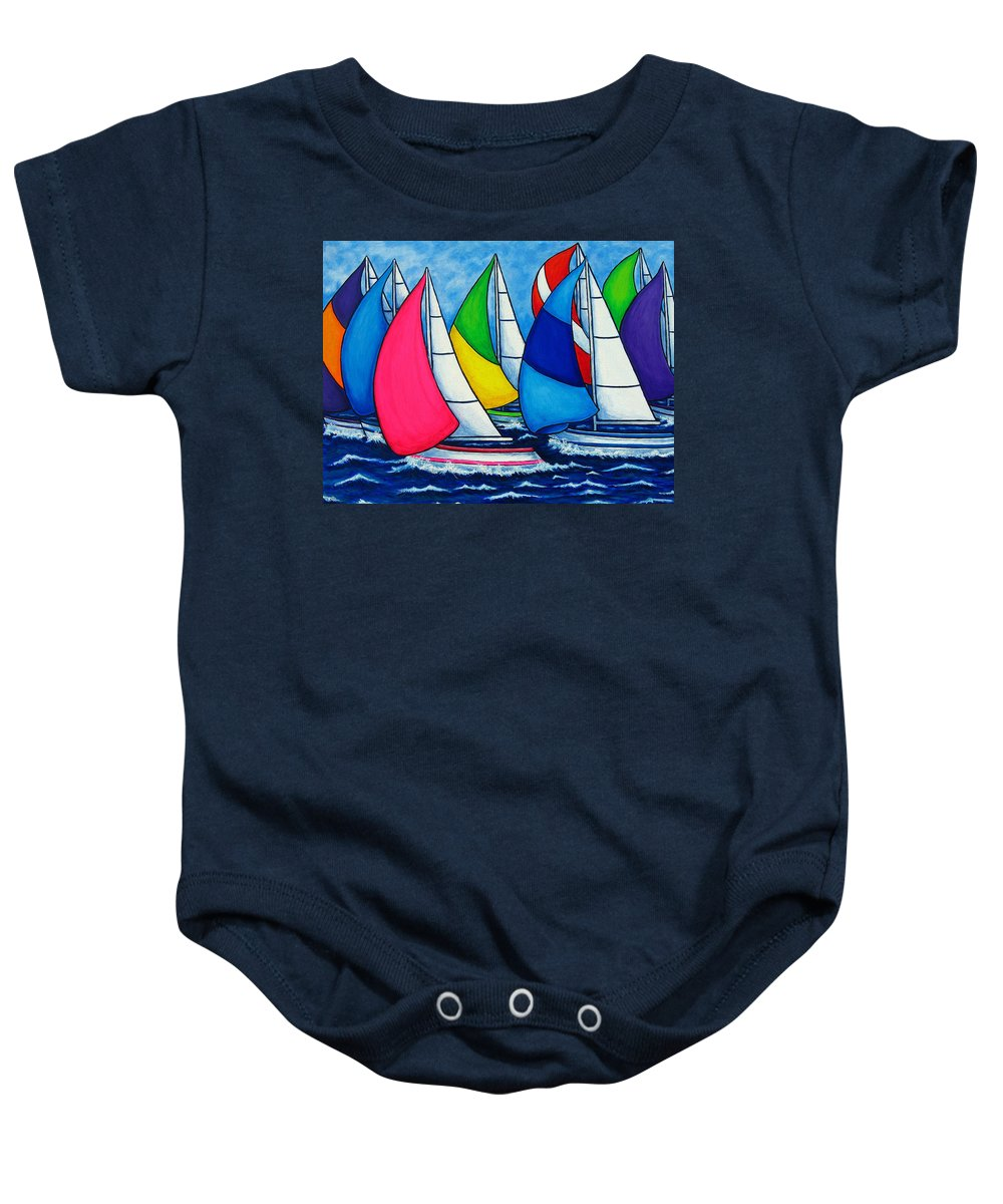 Boats Baby Onesie featuring the painting Colourful Regatta by Lisa Lorenz