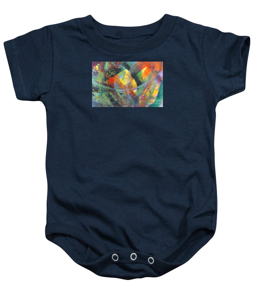 Abstract Baby Onesie featuring the painting Connections by Lucy Arnold