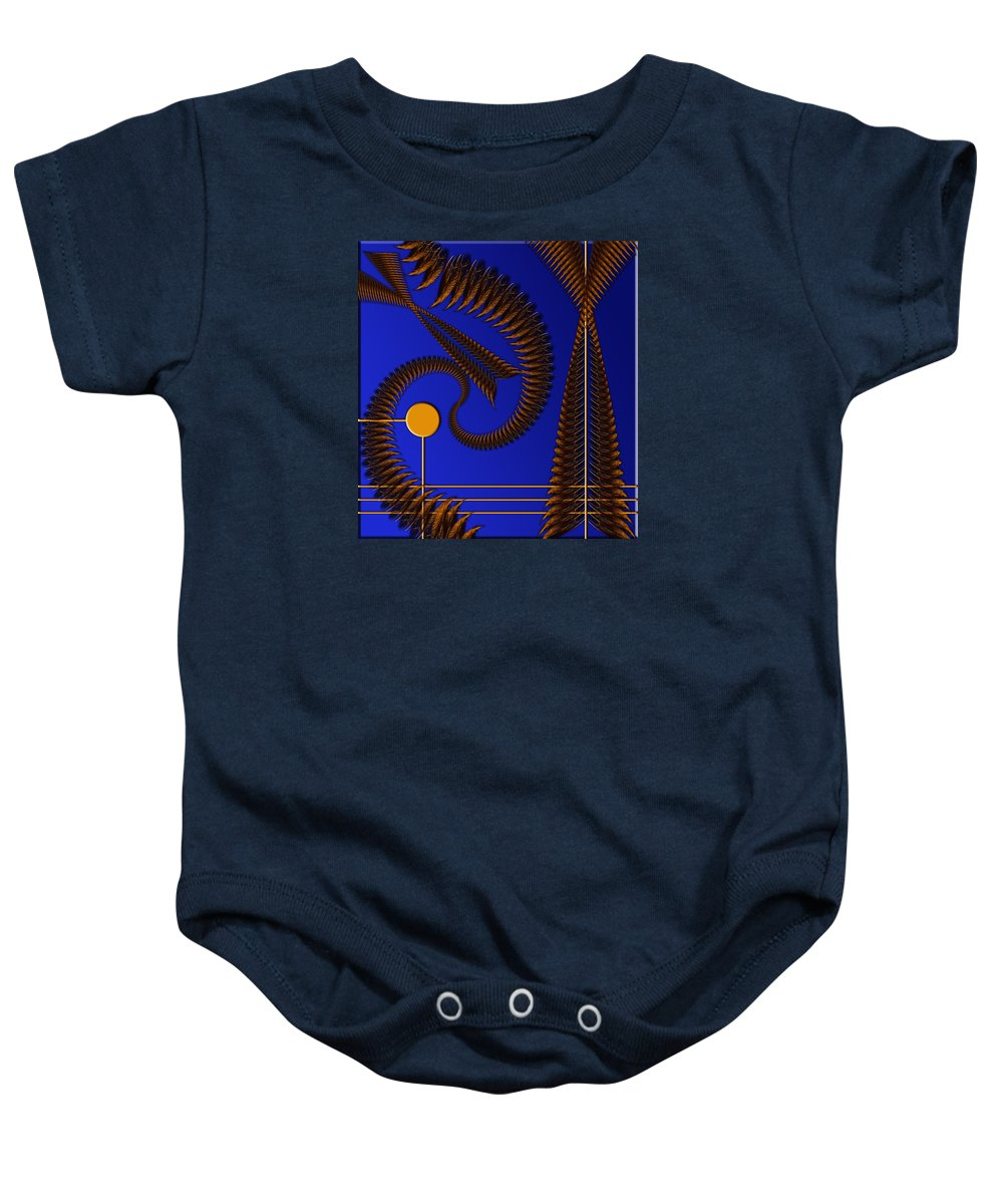 Bonvilston Baby Onesie featuring the digital art Copper In The Sun by Peter Leech