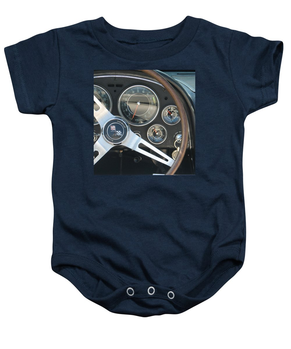 Corvette Baby Onesie featuring the photograph Corvette Dash by Kelly Mezzapelle