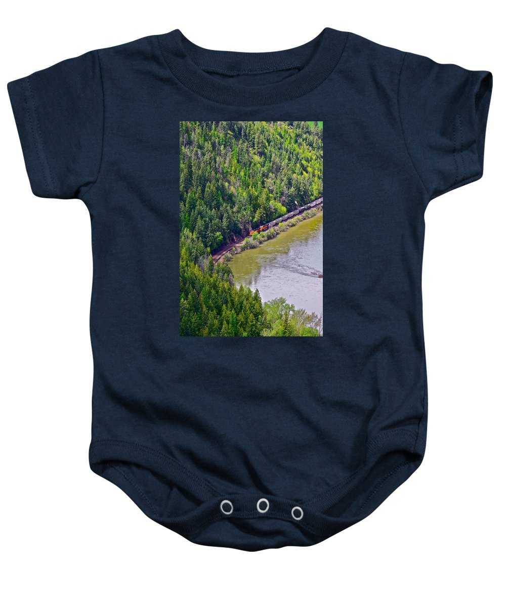 Train Baby Onesie featuring the photograph Country Train by Diana Hatcher