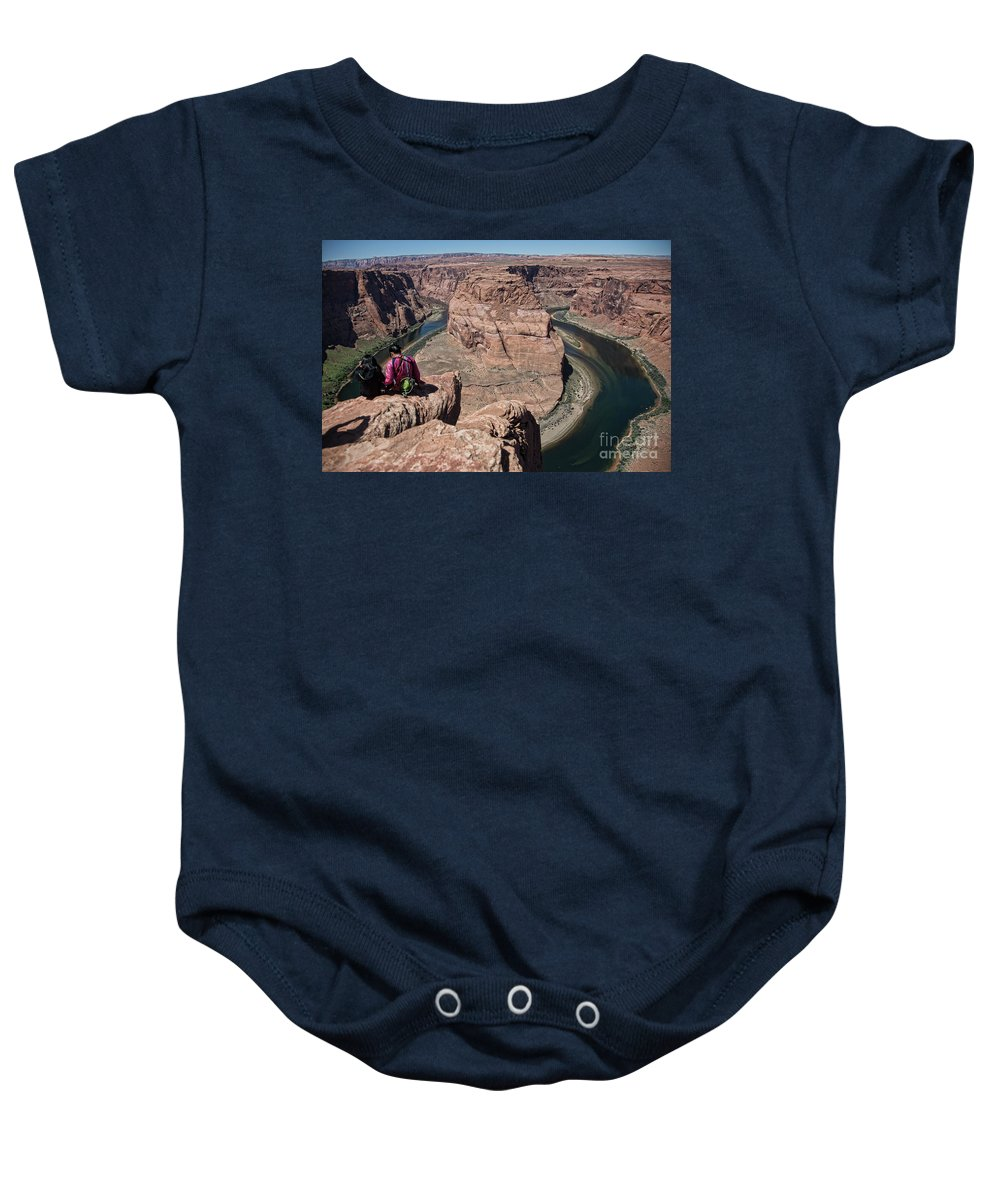 Horseshoe Bend Baby Onesie featuring the photograph Couple Viewing Horseshoe Bend High Up Edge by Chuck Kuhn