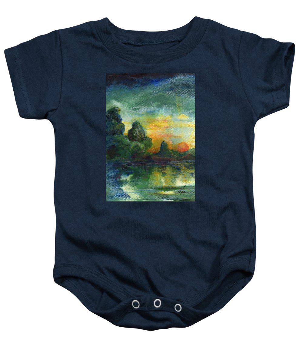 Cove Baby Onesie featuring the painting Cove Contento by Melody Horton Karandjeff