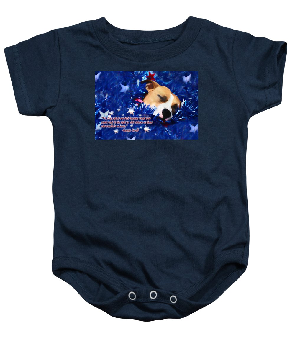 Usa Baby Onesie featuring the photograph Cradled By A Blanket Of Stars And Stripes - Quote by Shelley Neff