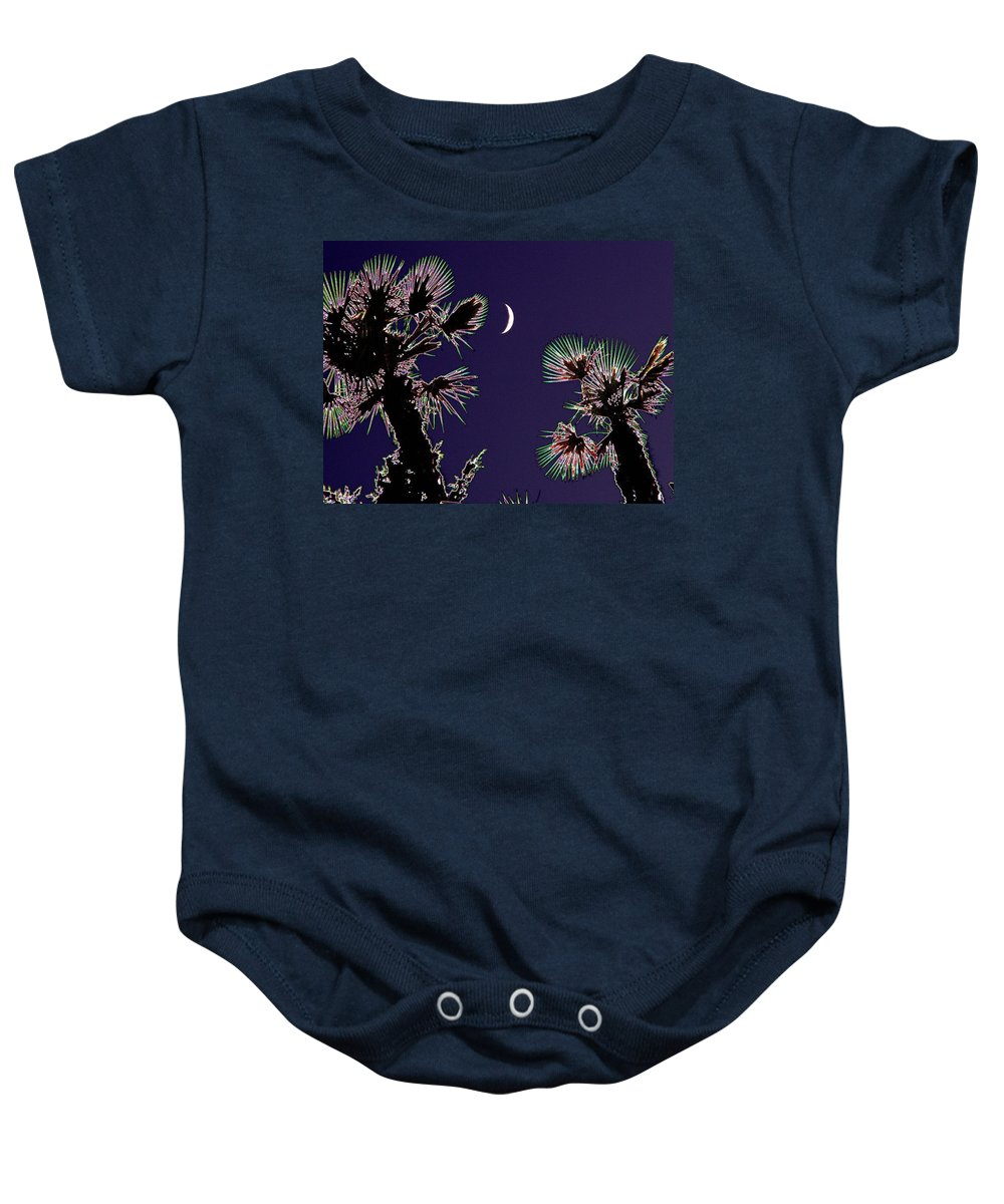 Moon Baby Onesie featuring the photograph Crescent And Palms by Tim Allen