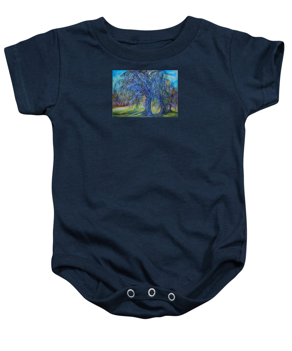 Blue Baby Onesie featuring the drawing Crystal Light by Anna Duyunova