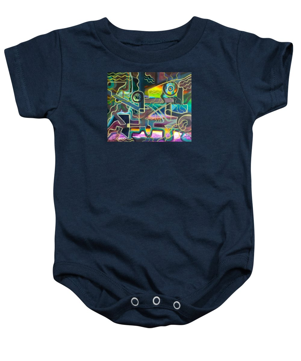 Modern Impressionist Abstract Art Baby Onesie featuring the painting Crossfire by Mark Beach