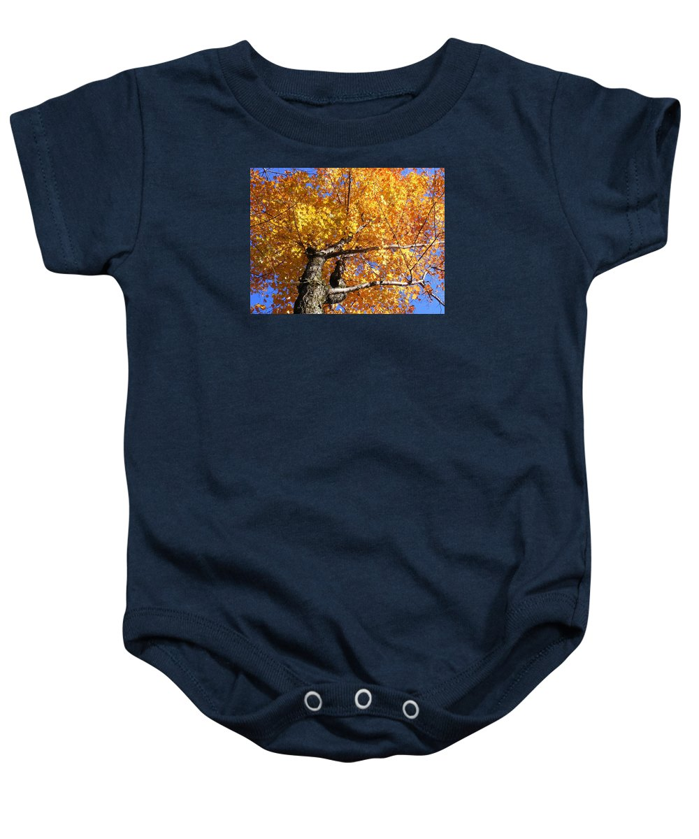 Trees Baby Onesie featuring the photograph Crown Fire by Dave Martsolf