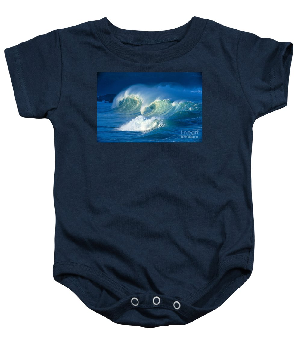 Aqua Baby Onesie featuring the photograph Curling White Caps by Vince Cavataio - Printscapes