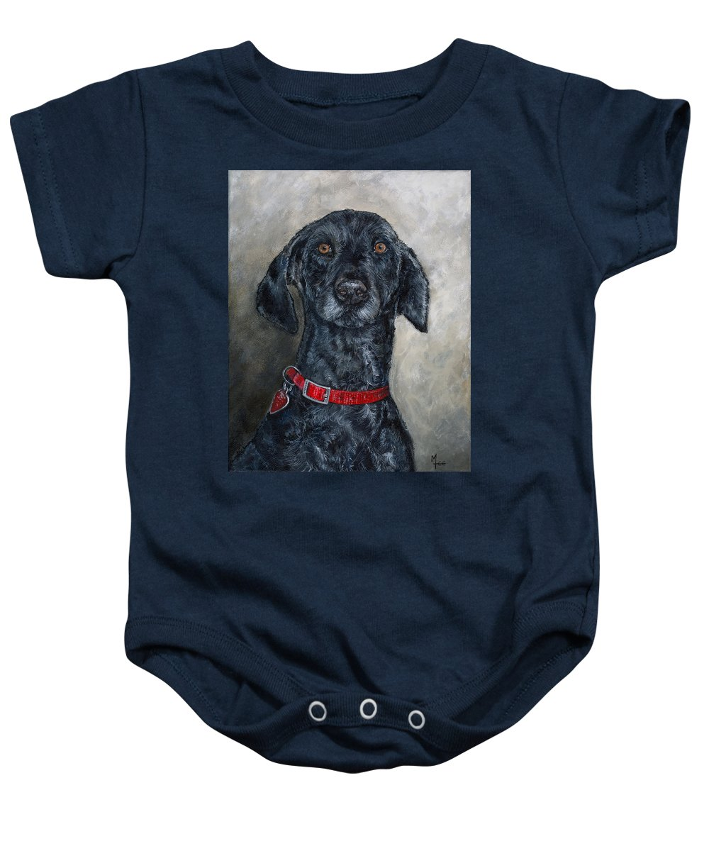 Poodle Baby Onesie featuring the painting Curly Sue by Mary-Lee Sanders