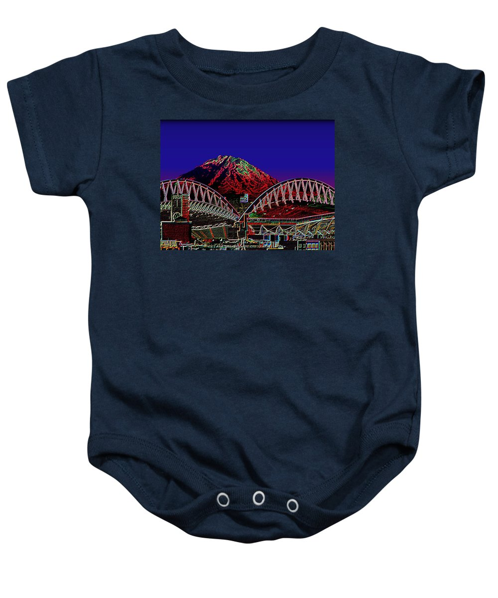 Seattle Baby Onesie featuring the photograph Da Mountain and Stadia 3 by Tim Allen